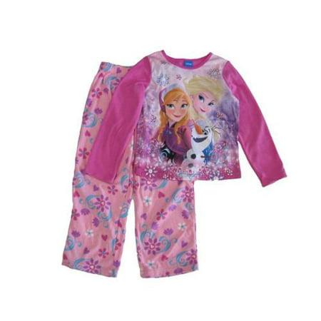 Disney Little Girls Pink Anna Elsa Olaf Floral Print 2 Pc Pajama Set 4