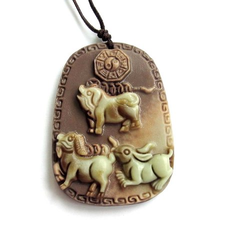 Fortune Pig (Two Layer Natural Stone Chinese Zodiac Pig Sheep Rabbit Money Tai-Ji Fortune Pendant 48mm*35mm )