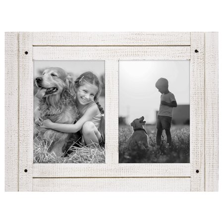 5x7 Aspen White Collage Distressed Wood Frame - Display Two 5x7 ...