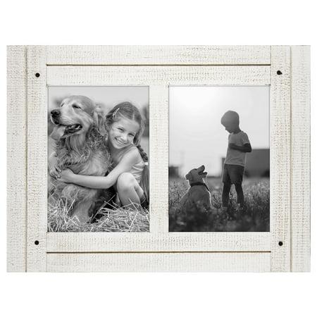5x7 Aspen White Collage Distressed Wood Frame - Display Two 5x7 Photos ()