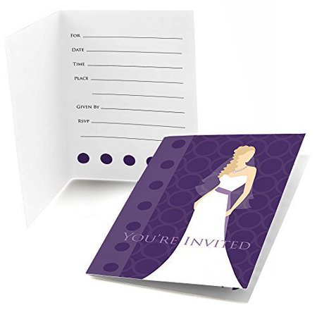 Bride purple fill in bridal shower invitations 8 count for Bridal shower fill in invitations