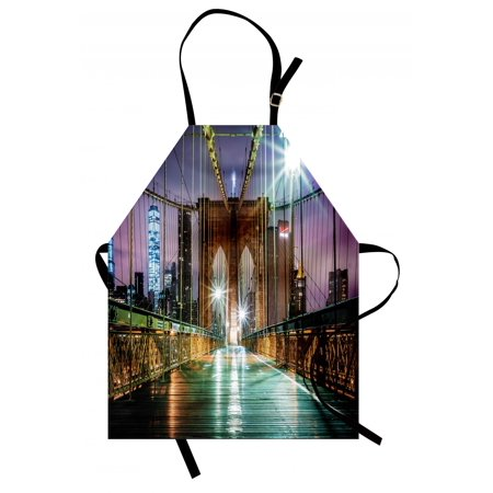 Landscape Apron Brooklyn Bridge Pedestrian Walkway Before Sunrise American Landmark Picture, Unisex Kitchen Bib Apron with Adjustable Neck for Cooking Baking Gardening, Purple Brown, by Ambesonne