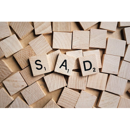 laminated poster emotion wooden letters word sad poster print 24 x 36
