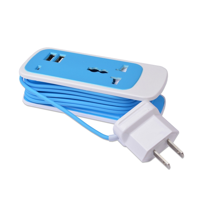 Universal AC Charger 3-in-1 w/Dual 2.1Amp USB Ports Compact for Travel (Blue)