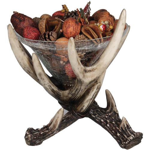 "Rivers Edge Products 10"" x 10"" Deer Antler Glass Dish"