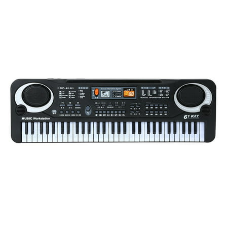 61 Keys Black Digital Music Electronic Keyboard Key Board Electric Piano Kids Gift Musical Instrument - image 1 of 6