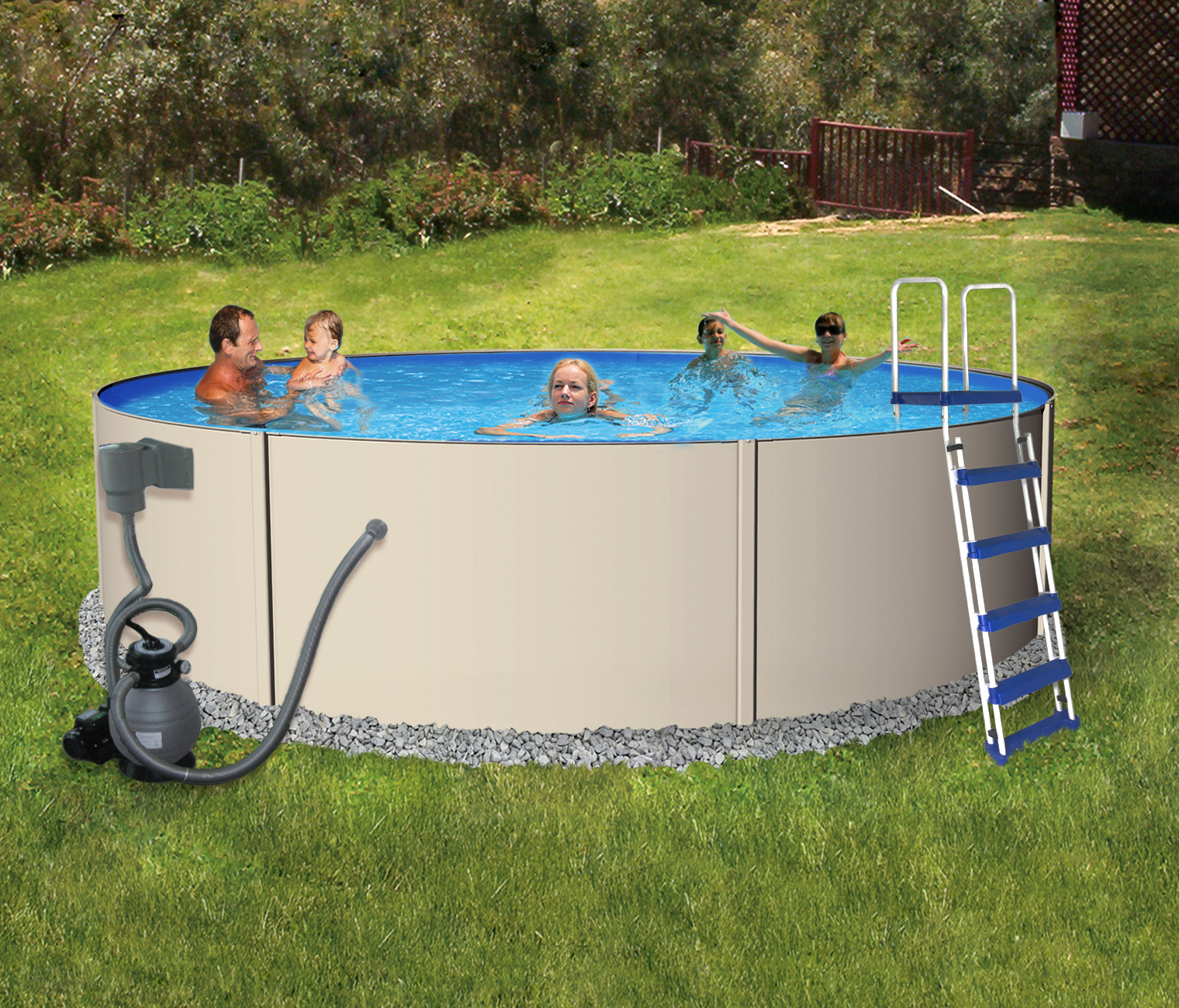 Blue Wave Rugged Steel 18-ft Round 52-in Deep Metal Wall Swimming Pool Package by Blue Wave