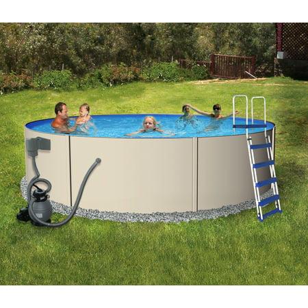 Deep Well Jet Package - Blue Wave Rugged Steel 18-ft Round 52-in Deep Metal Wall Swimming Pool Package