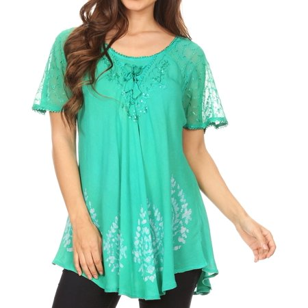 Kelly Lace (Sakkas Alberta Womens Short Sleeve Corset Blouse Top with Batik and Lace Sleeves - Kelly Green - One Size)