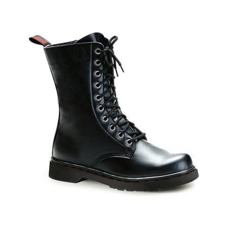 Leather Lace Up Combat Boots - Mens Black Combat Boots Lace Up Vegan Leather Boots Calf 1 Inch Heel MEN SIZING