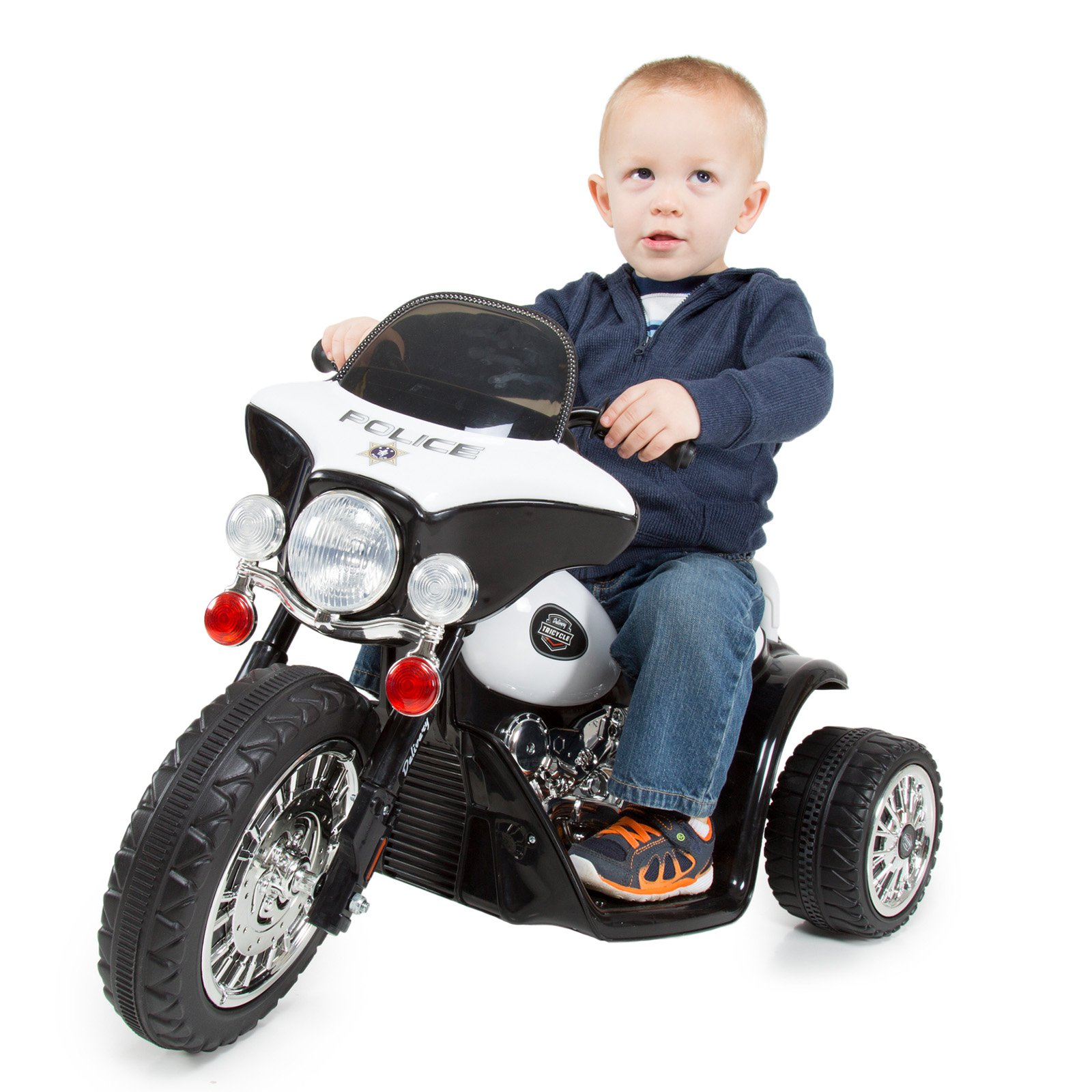 Lil Rider Mini Three Wheel Police Chopper Battery Powered Riding Toy by Trademark Global LLC