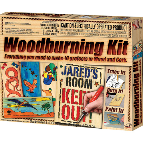 NSI Wood Burning Kit, Everything you need to make 10 projects in Wood, Leather and Cork