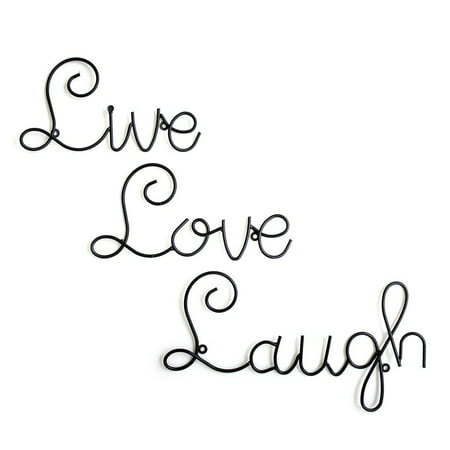 Live Love Laugh Set 3 Wall Mount Metal Wall Word Sculpture By Super Z Outlet® ()