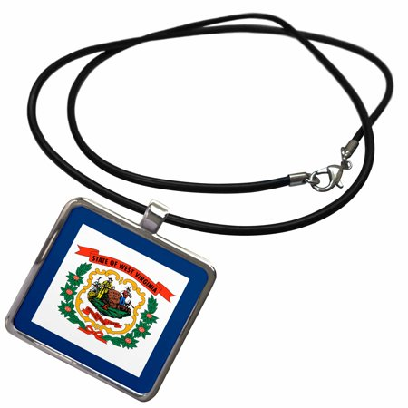 3dRose Flag of West Virginia WV - US American United State of America USA. Farmer miner coat of arms wreath - Necklace with Pendant (ncl_159829_1) Usa Soccer Wreath