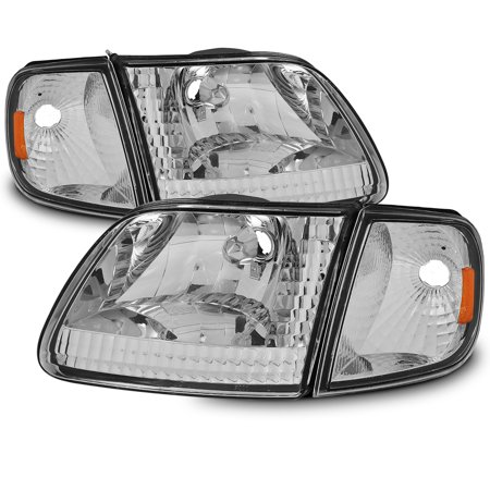 Fits 1997-2003 Ford F150 Expedition Headlights + Corner 1998 1999 2000 2001 2002 - Ford Expedition Headlight Assembly