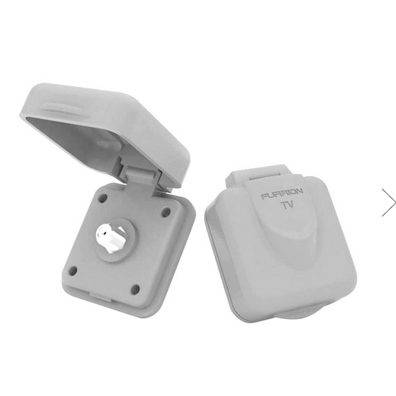 Furrion Black Standard Lippert 381609 Miniature Cable Tv Inlet-White