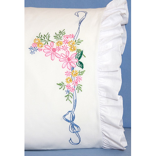 """Fairway Needlecraft Ribbon And Flowers Stamped Lace Edge Pillowcase Pair, 30"""" x 20"""""""