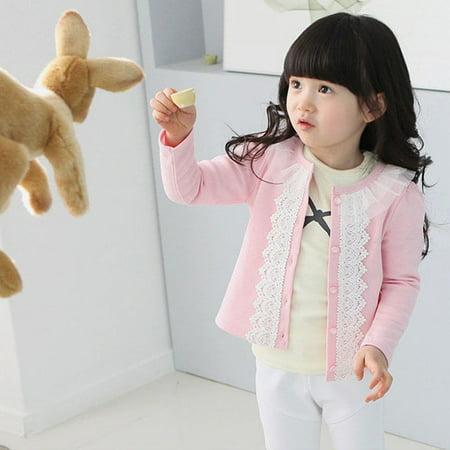 Fashion Baby Girls Lace Clothing Jacket Clothing Jacket Coat Kids Long Sleeve Outerwear Clothes