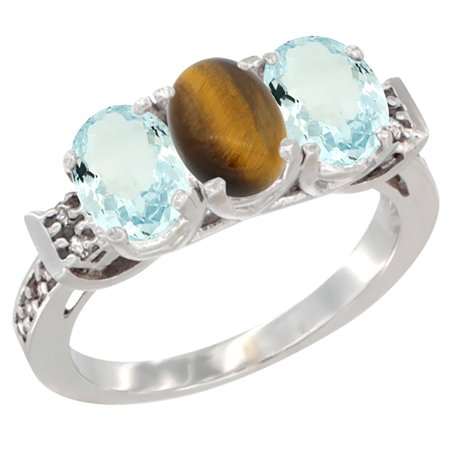 10K White Gold Natural Tiger Eye & Aquamarine Sides Ring 3-Stone Oval 7x5 mm Diamond Accent, size 6 10k Gold Tiger Eye