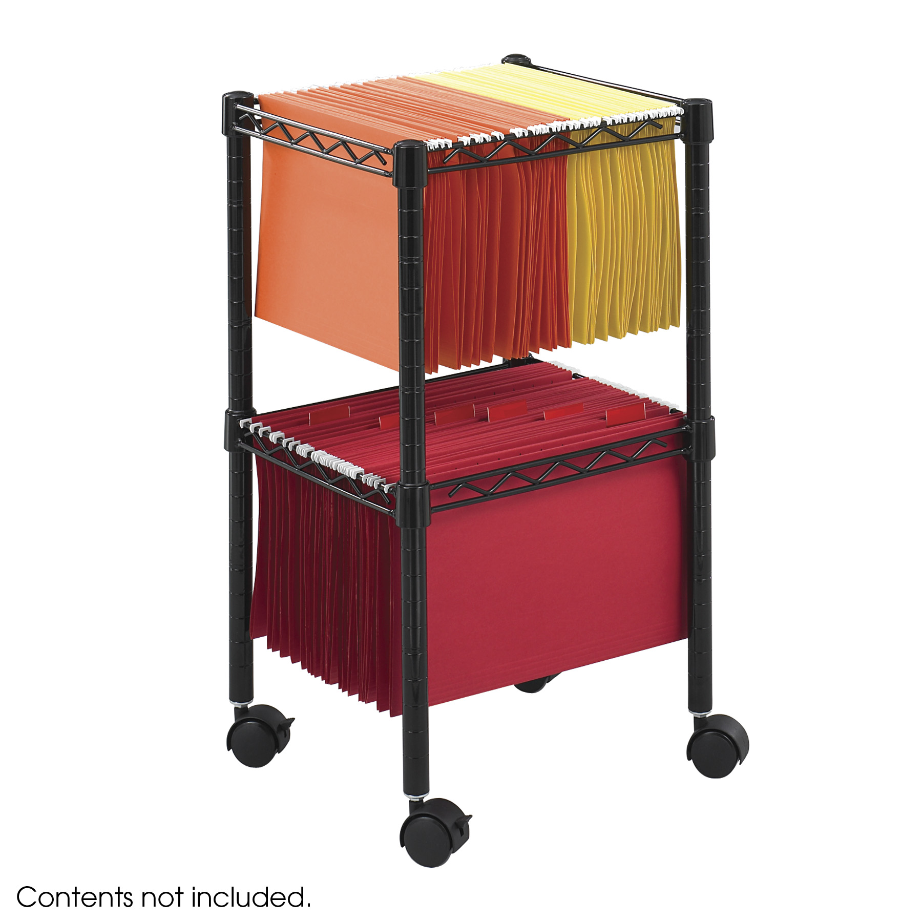 Two-Tier Compact File Cart, Black