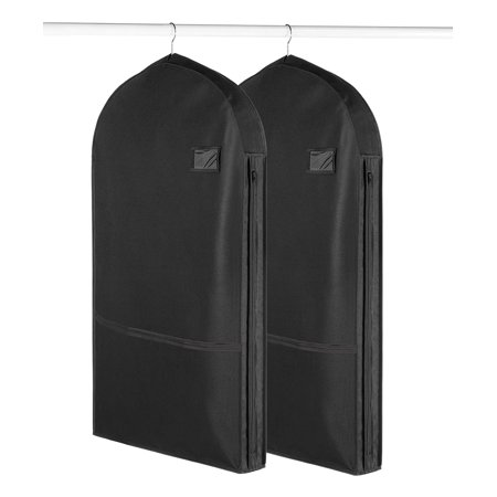 Living Solutions (2 Pack) Deluxe Garment Bags With Pockets For Storage Travel Suits Dresses Uniforms ()