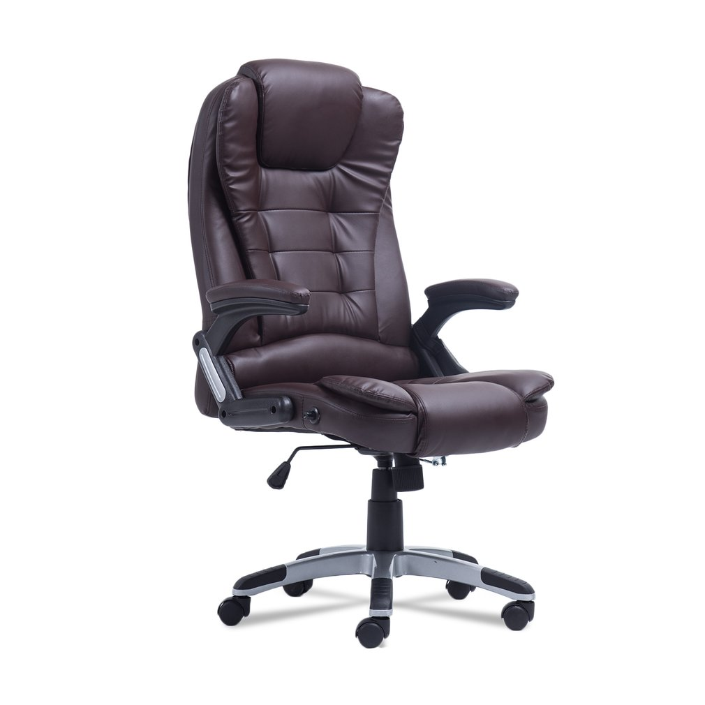 Brown Office Massage Chair Executive Relax Back Leather Vibrating Computer  Chair Desk Swivel   Walmart.com