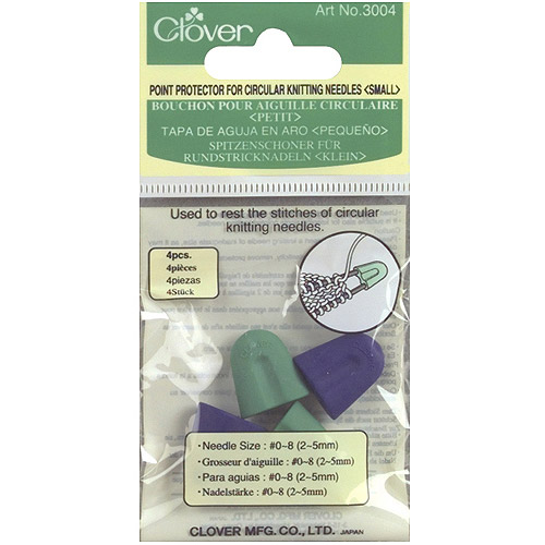 Clover Point Protectors, For Circular Knitting Needles, Sizes 0 and 8, 4-Pack