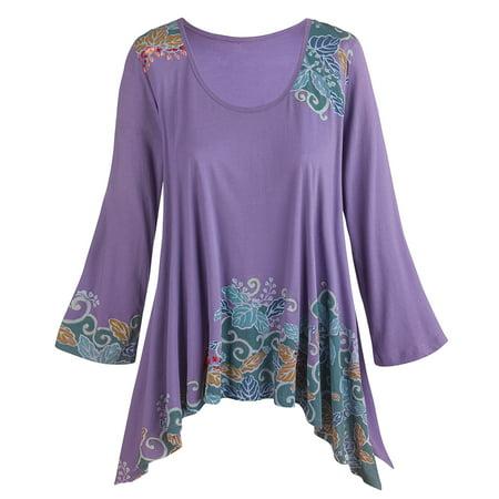 Women's Tunic Top - Hand Printed Floral Long Side Hem 3/4 Sleeve - Iris