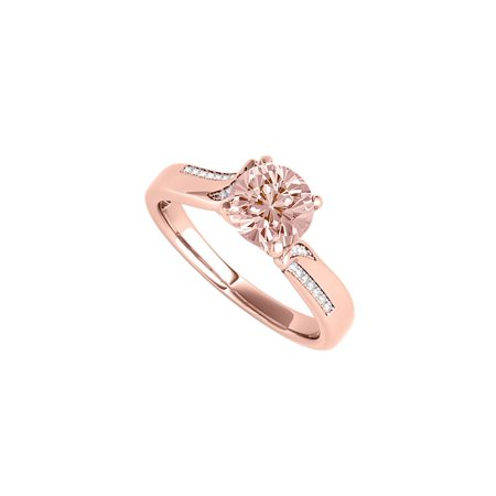 Morganite CZ Engagement Ring in 14K Rose Gold (14k Vermeil Ring)