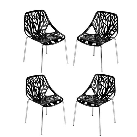 UBesGoo 4pcs Modern Dining Chair for Breakfast Dining Room Kitchen Furniture Black