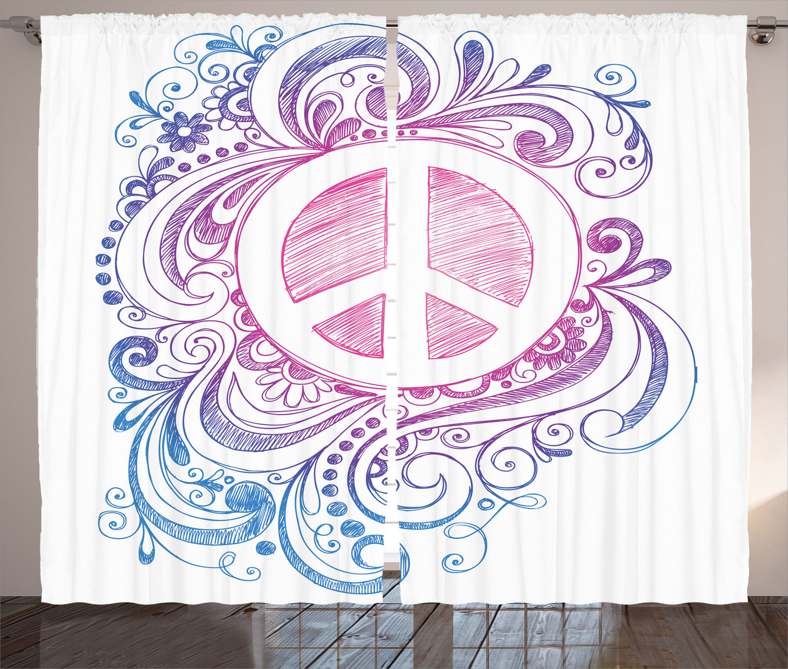 Peace Sign Bedroom Accessories: Groovy Decorations Curtains 2 Panels Set, Classic Hand