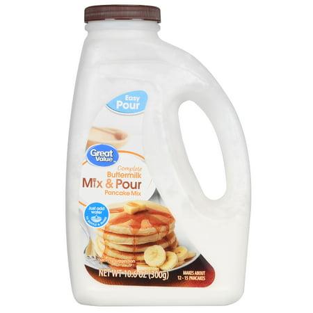 Great Value Complete Mix & Pour Pancake Mix, Buttermilk, 10.6 oz