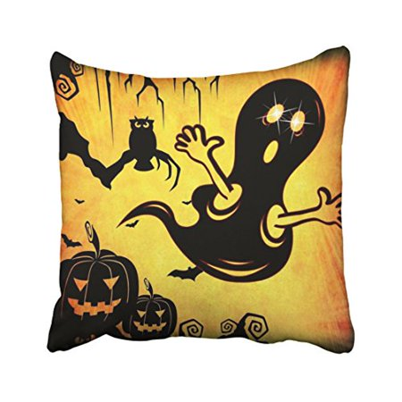 WinHome Decorative Pillowcases Fun Happy Halloween Trick Or Treat With Spider Web Throw Pillow Sofa 18x18 Inches Two Side - Throw A Fun Halloween Party
