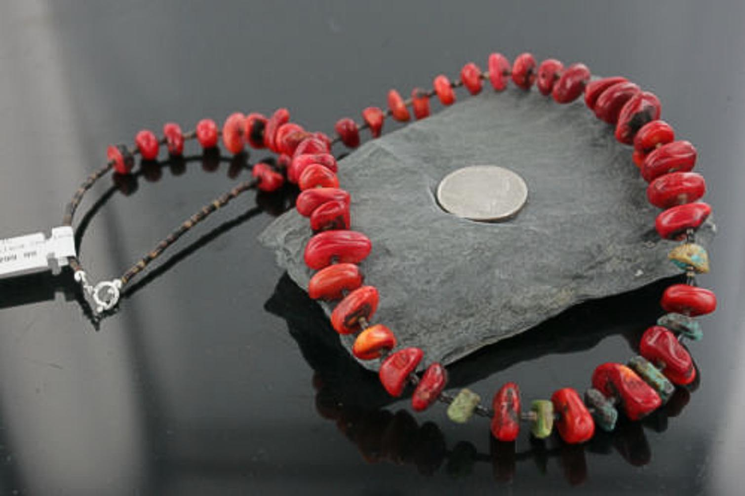 Large $300 Retail Tag Authentic Made by Charlene Little Navajo .925 Sterling Silver Graduated Coral and Turquoise Native... by