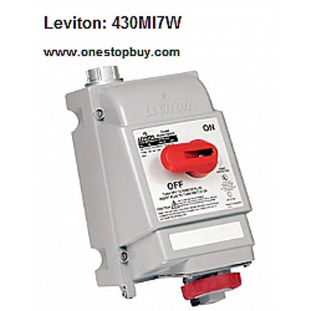 Leviton 430MI7W Pin and Sleeve Mechanical Interlock 30 Amp 480 Volt 3-Phase  3P 4W NA-Rated - Red