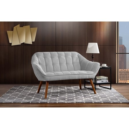Couch for Living Room, Tufted Linen Fabric Love Seat (Light Grey) (Linen Living Room Loveseat)