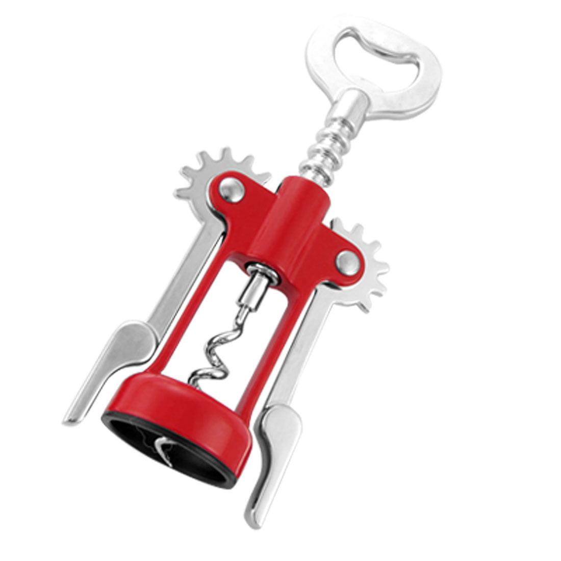 Red Silver Tone Metal Rotatory Corkscrew Bottle Opener