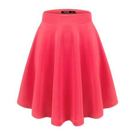 Doublju Womens Basic Stretchy Flared Skater Casual Skirt With Plus Size HOTPINK S](Plus Size Tulle Skirt)