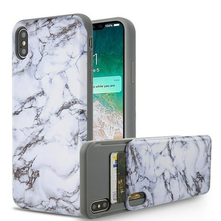 huge selection of 52745 29535 Apple iPhone Xs Max (6.5 Inch) Phone Case Shockproof Hybrid Rubber Rugged  Case Cover Slim with Double Card Holder White Marble Phone Case for Apple  ...