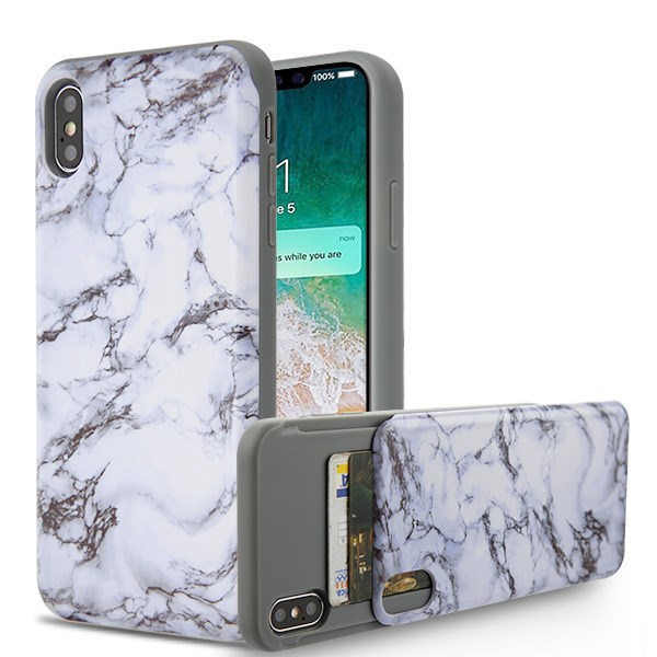 Apple iPhone Xs Max (6.5 Inch) Phone Case Shockproof Hybrid Rubber Rugged Case Cover Slim with Double Card Holder White Marble Phone Case for Apple iPhone Xs Max