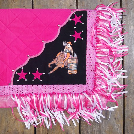 SB107-A HILASON HANDPAINT WESTERN SHOW BARREL RACING SADDLE BLANKET PAD PINK (Saddle Blanket Pad)