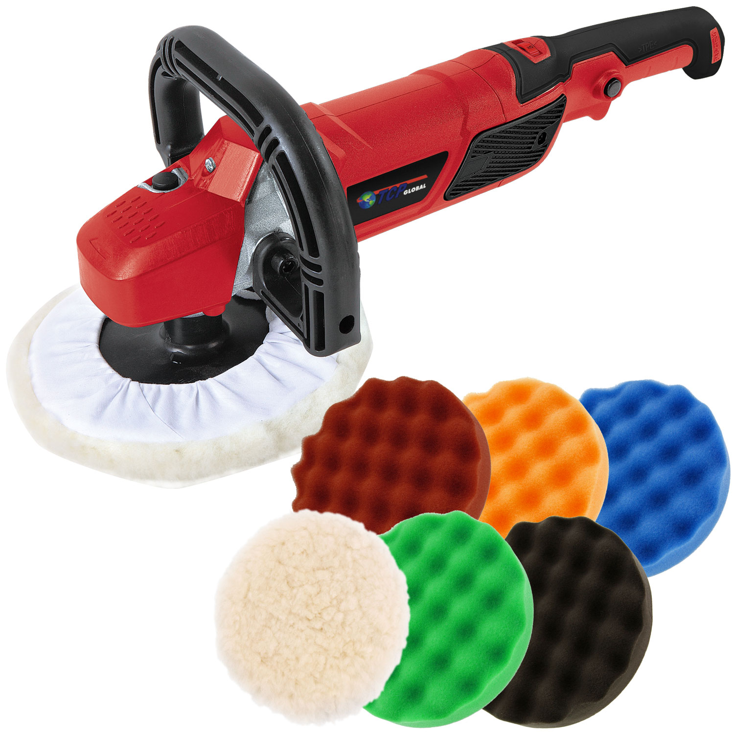 "7"" Professional High Performance Variable Speed Polisher with a 6 Pad Buffing and Polishing Kit"