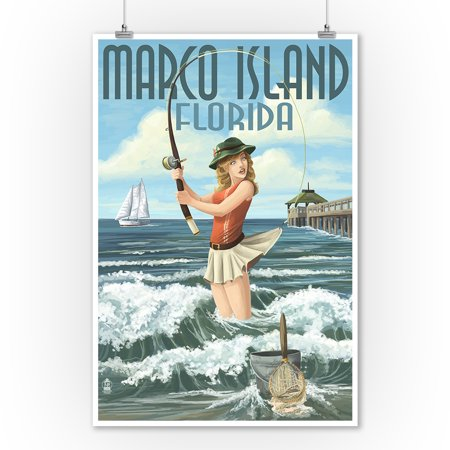 Marco Island, Florida - Pinup Girl Surf Fishing - Lantern Press Artwork (9x12 Art Print, Wall Decor Travel