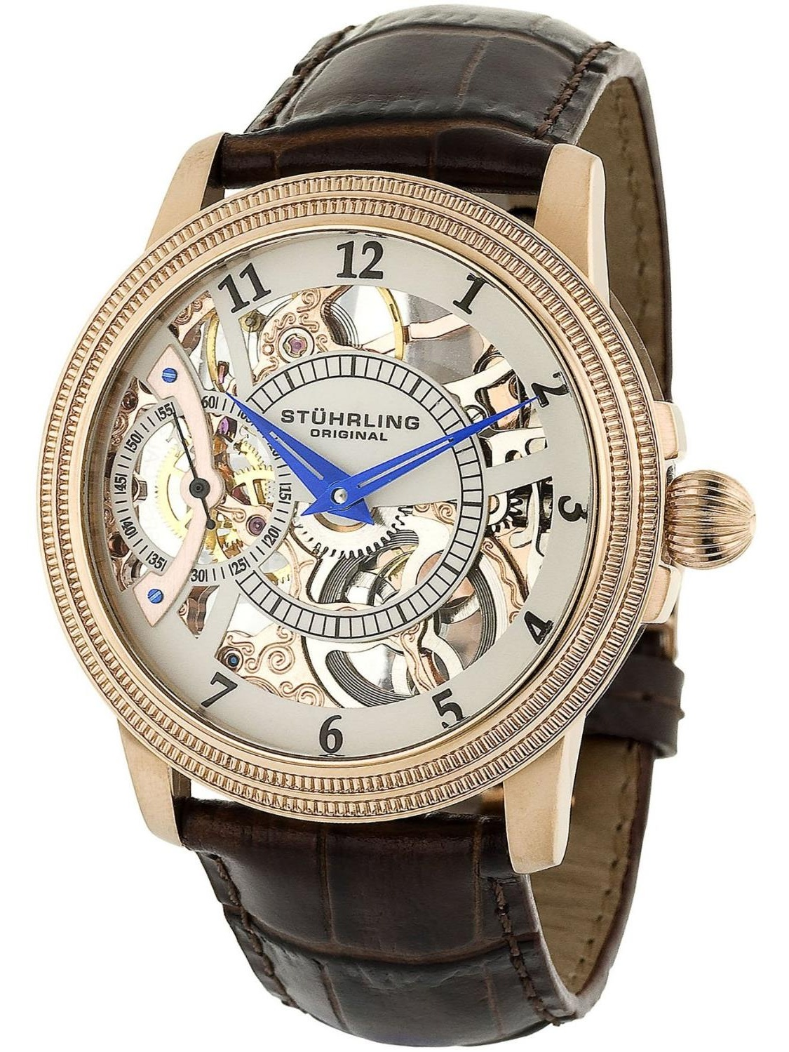 Stuhrling 228.33452 44mm  Stainless Steel Case Brown Calfskin krysterna Men's Watch