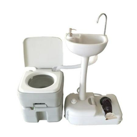 Zimtown 20L 5 Gallon Portable Toilet Camping Toilet Potty Flush with ...