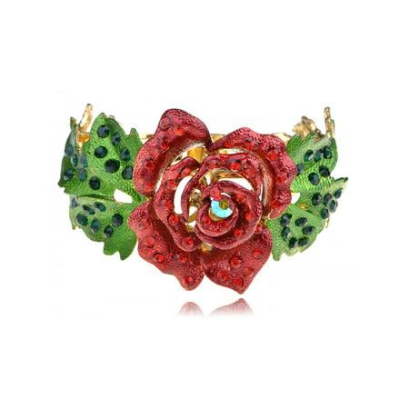 Ruby Fashion Crystal Rhinestone Statement Rose Flower Leaf Bracelet Bangle Cuff