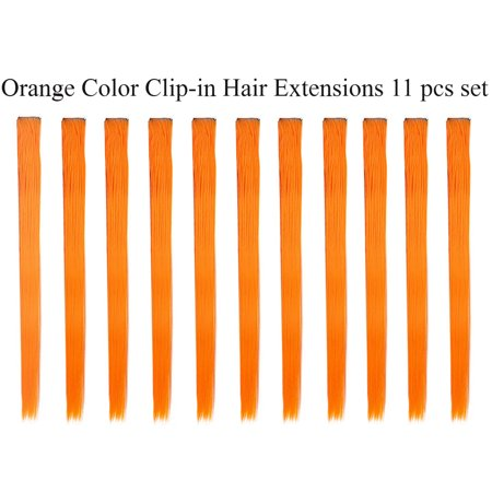 Beaute Galleria - Bundle 11pcs Single Color 21 Inches Straight Party Highlights Clip In Synthetic Hair Extensions Cosplay Comic Con Halloween Costume (Halloween Hair Extensions)