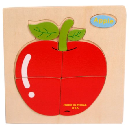 Outtop Wooden Apple Puzzle Educational Developmental Baby Kids Training Toy - Apple Toys