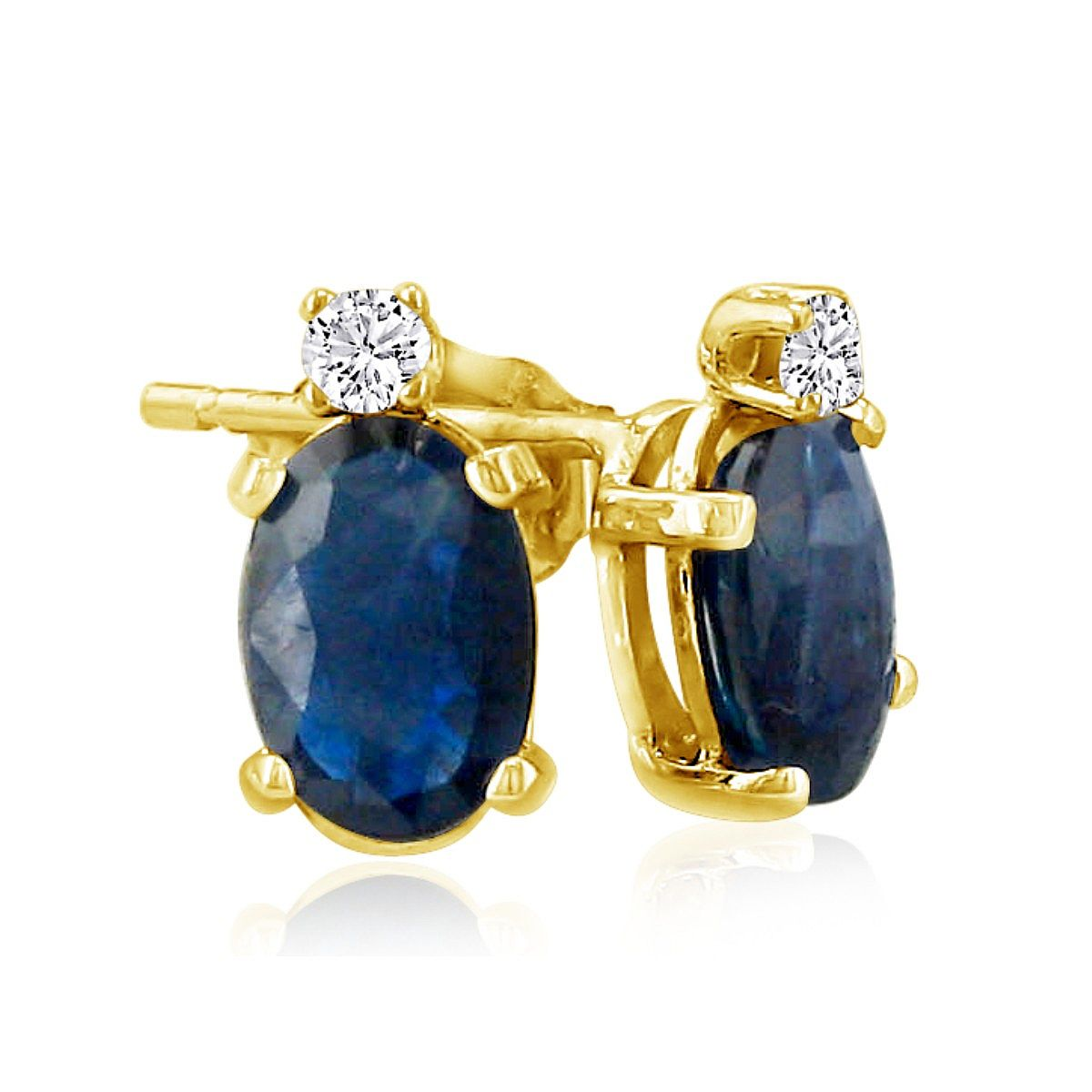 2 Carat Oval Sapphire and Diamond Earrings in 14k Yellow Gold