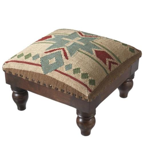 "16"" Frontier Inspired Kilim Fabric Covered Wooden Foot Stool Ottoman"